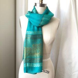 Free w/$30+ Purchase - Turquoise Gold Scarf Wrap